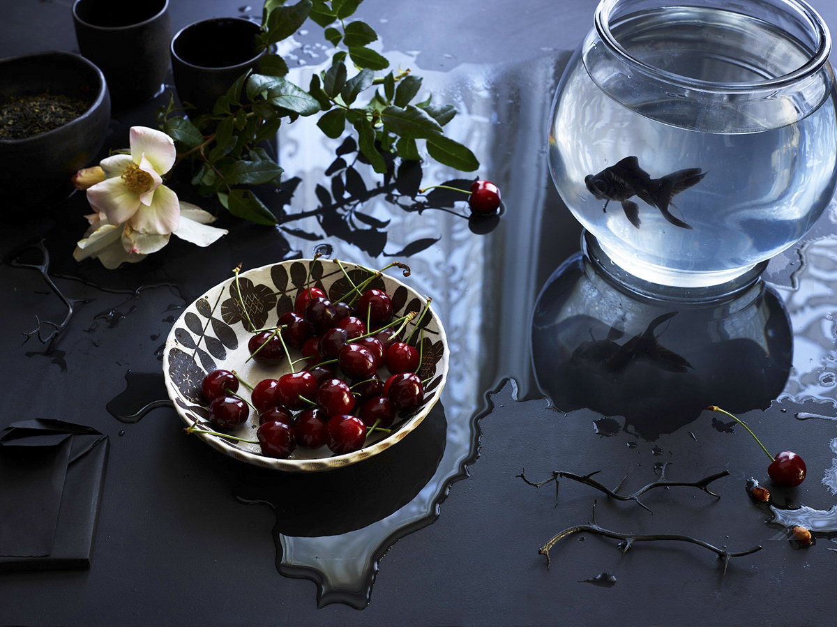 Still Life: Black Fish and Cherries